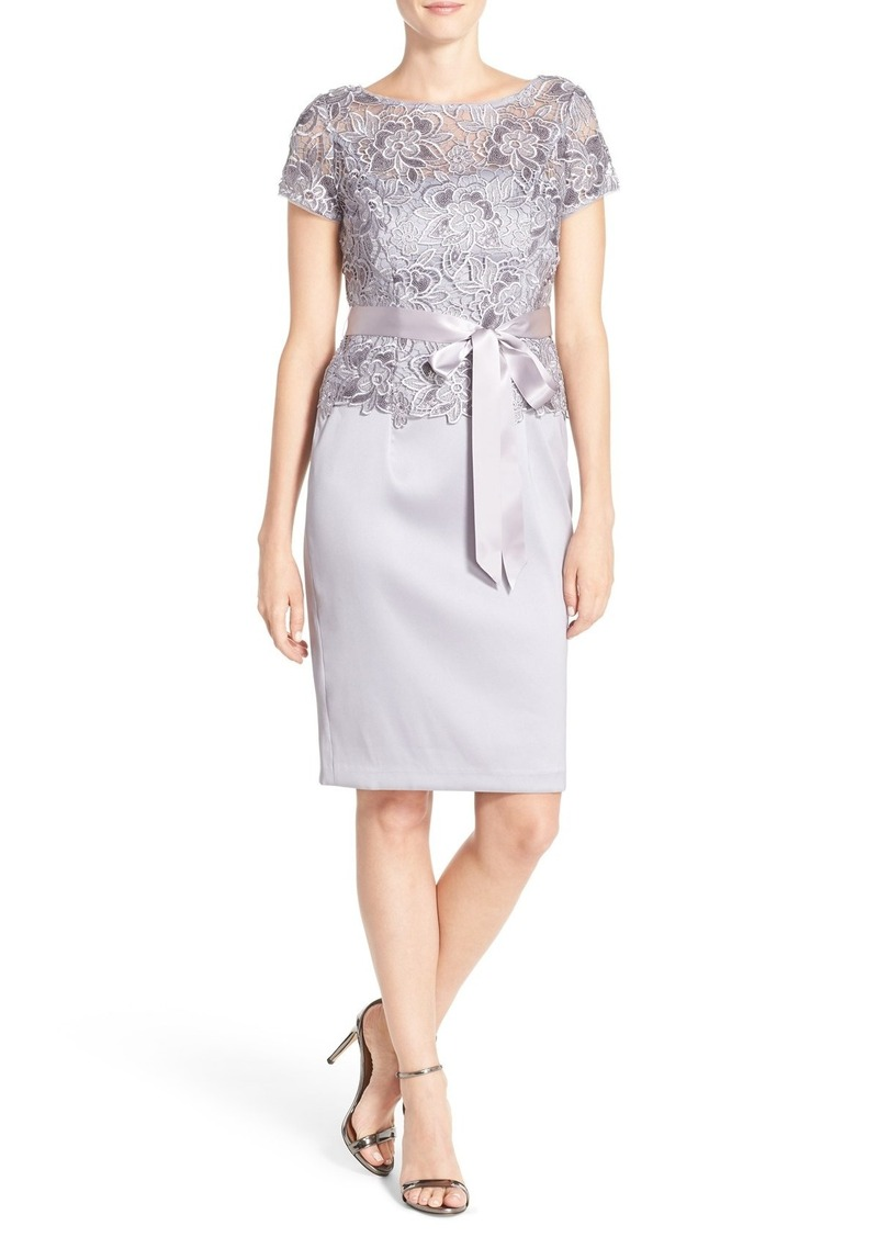 Adrianna Papell Mixed Media Sheath Dress (Regular & Petite)