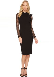 Adrianna Papell Mock Neck Sheath Lace Dress