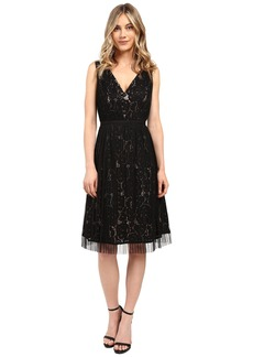 Adrianna Papell Netting Overlay Juliet Lace Fit and Flare Dress