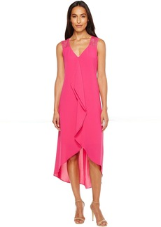 Adrianna Papell Novelty Gauzy Crepe Corkscrew Shift Dress with Lace Detailing