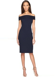 Adrianna Papell Off Shoulder Color Block Fitted Dress