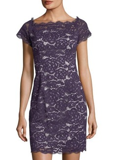 Adrianna Papell Off-Shoulder Lace Sheath Dress
