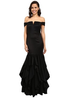 Adrianna Papell Off Shoulder Mermaid Ruffle Gown