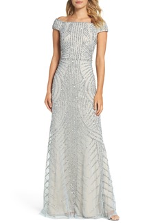 Adrianna Papell Off the Shoulder Beaded Gown (Regular & Petite)