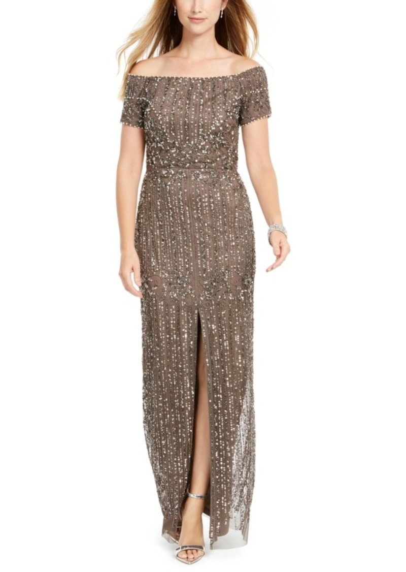 Adrianna Papell Off-The-Shoulder Beaded Gown
