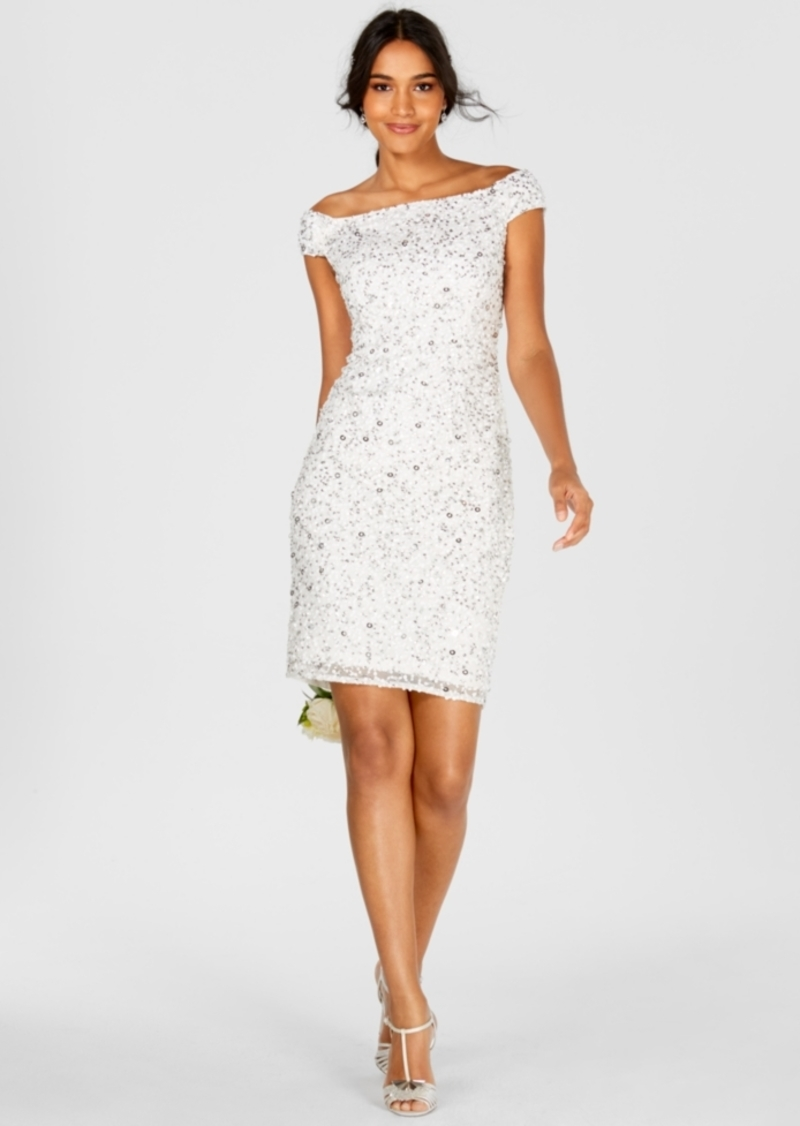 Adrianna Papell Off-The-Shoulder Beaded Sheath Dress
