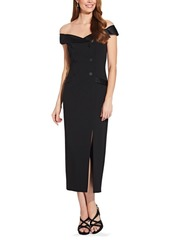 Adrianna Papell Off-The-Shoulder Button Midi Dress