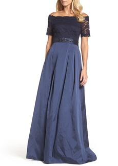 Adrianna Papell Off the Shoulder Gown