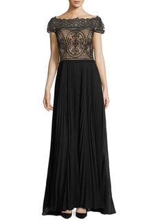 Adrianna Papell Off-the-Shoulder Ills Top Gown