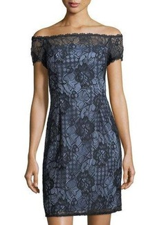 Adrianna Papell Off-the-Shoulder Lace Sheath Dress