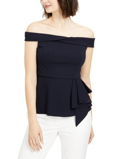 Adrianna Papell Off-The-Shoulder Peplum Top