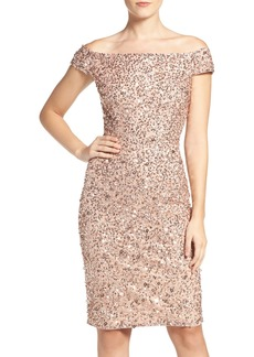 Adrianna Papell Off the Shoulder Sequin Sheath Dress (Regular & Petite)