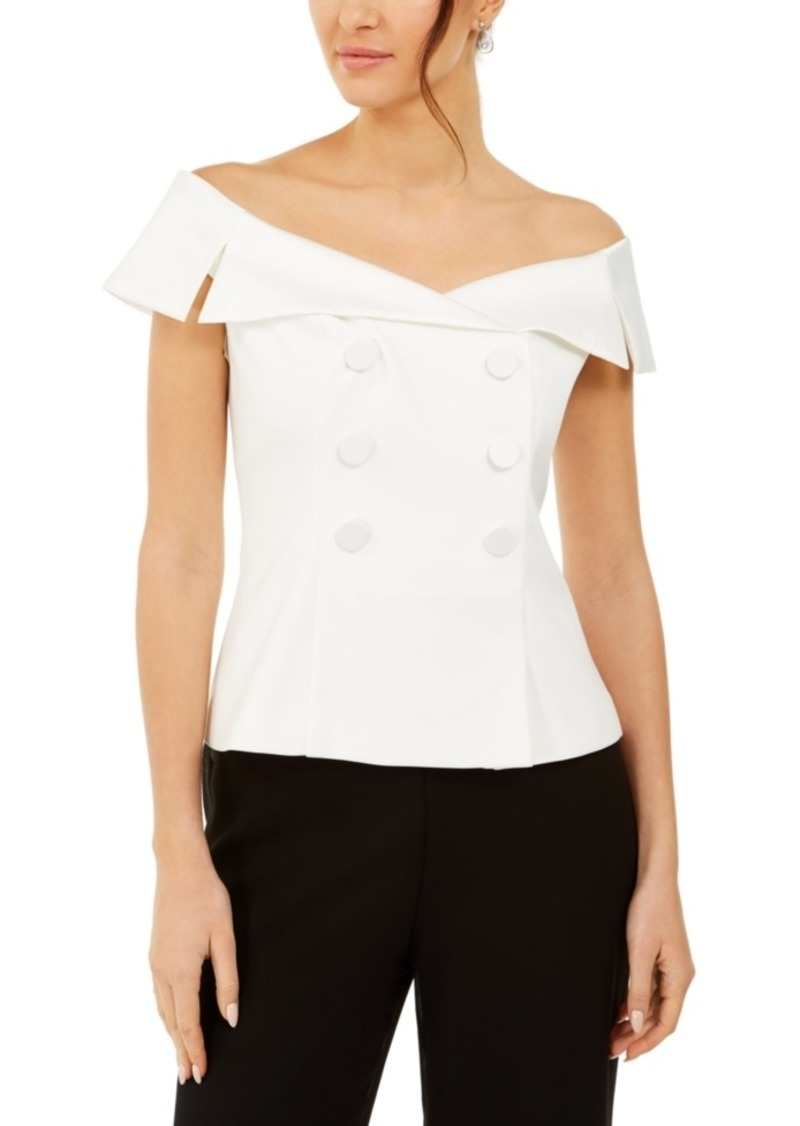 Adrianna Papell Off-The-Shoulder Tuxedo Top