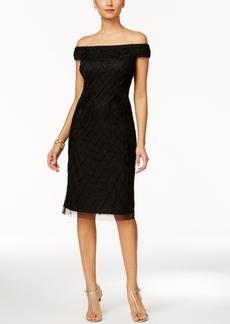Adrianna Papell Off-The-Shoulder Velvet Beaded Dress