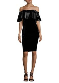 Adrianna Papell Off-The-Shoulder Velvet Bodycon Dress