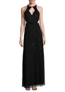 Adrianna Papell Ombre Beaded Halter Dress