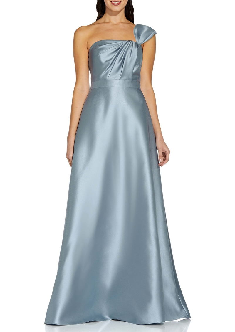 Adrianna Papell One-Shoulder A-Line Mikado Gown