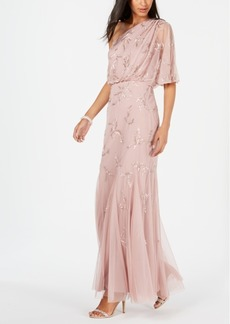 Adrianna Papell One-Shoulder Beaded Blouson Gown