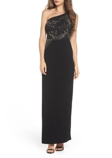 Adrianna Papell One-Shoulder Beaded Bodice Gown