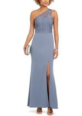 Adrianna Papell One-Shoulder Lace Gown