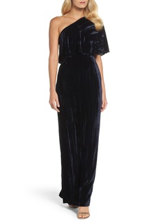 Adrianna Papell One-Shoulder Velvet Gown