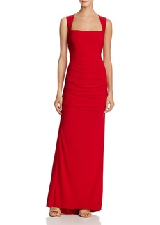Adrianna Papell Open-Back Gathered Jersey Gown