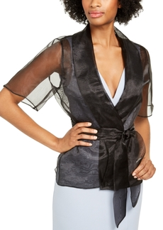 Adrianna Papell Open-Front Organza Shrug