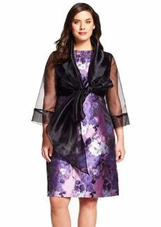 Adrianna Papell Organza Wrap Jacket w/ Tie Front Collar-Black Size 1X
