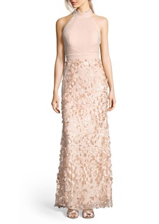 Adrianna Papell Petal Tulle Halter Gown