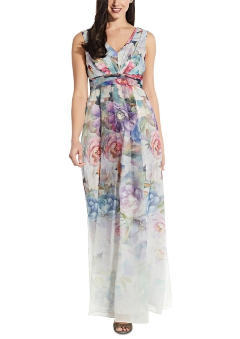 Adrianna Papell Petite Printed Organza Gown