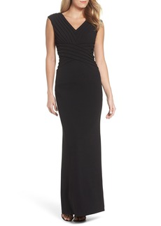 Adrianna Papell Pintuck Crepe Gown (Regular & Petite)