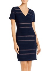 Adrianna Papell Pintucked Spliced Sheath Dress