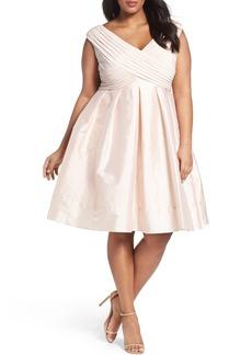 Adrianna Papell Pleat Taffeta Fit & Flare Dress (Plus Size)