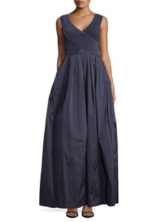 Adrianna Papell Pleated A-Line Gown