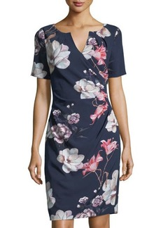 Adrianna Papell Pleated-Detail Floral-Print Sheath Dress