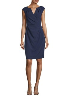 Pleated Faux-Wrap Dress