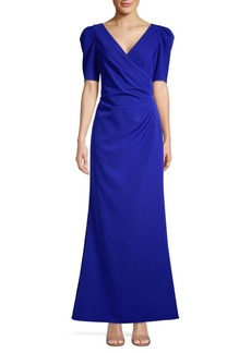 Adrianna Papell Pleated Faux Wrap Gown