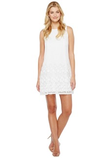 Adrianna Papell Pleated Plaid Dot Trapeze Dress