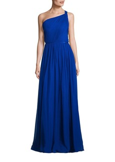 Adrianna Papell Pleated Silk One Shoulder Gown