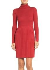 Adrianna Papell Pleated Turtleneck Dress