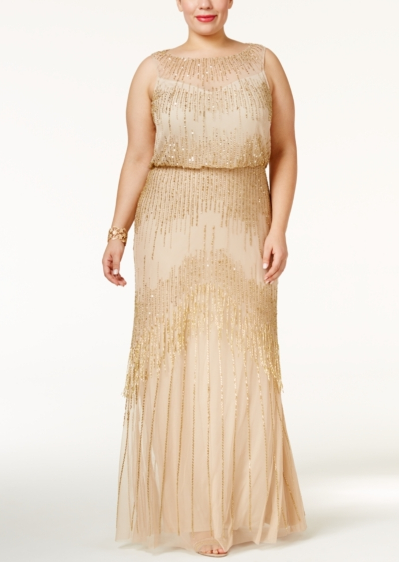 Adrianna Papell Adrianna Papell Plus Size Beaded Blouson Gown   Dresses