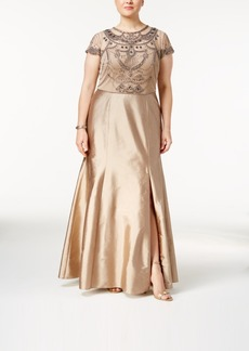 Adrianna Papell Plus Size Beaded Popover Gown