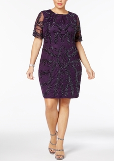 Adrianna Papell Plus Size Beaded Sheath Dress