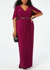 Adrianna Papell Plus Size Embellished Capelet Gown
