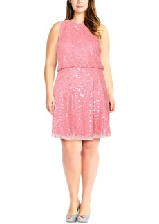 Adrianna Papell Plus Size Embellished Mock-Neck Dress