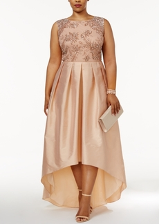 Adrianna Papell Plus Size Embellished Taffeta High-Low Gown