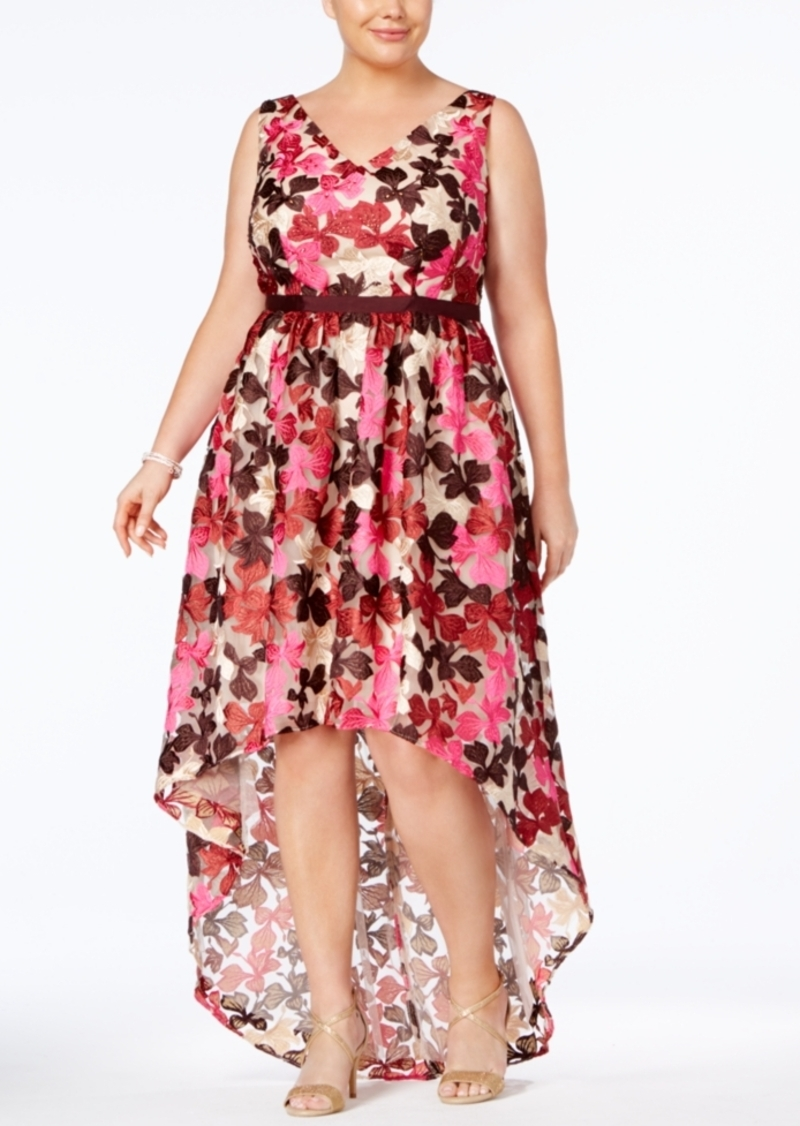 Adrianna Papell Adrianna Papell Plus Size Embroidered High-Low Gown ...