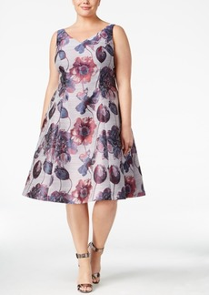 Adrianna Papell Plus Size Floral-Print Fit & Flare Dress
