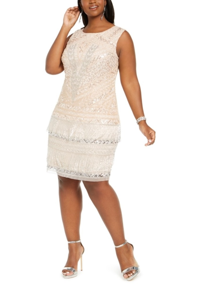 Adrianna Papell Plus Size Fringe Cocktail Dress