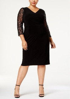 Adrianna Papell Plus Size Illusion-Sleeve Stretch Dress